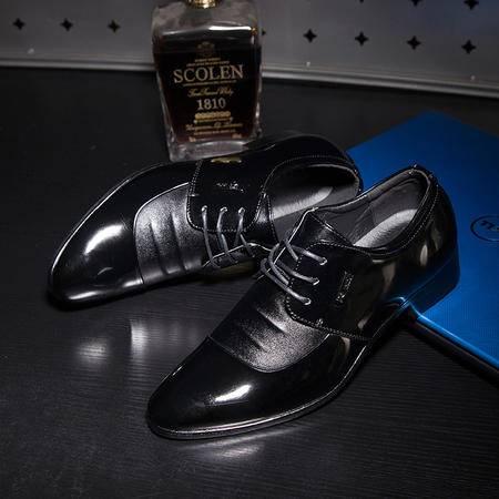 新款春季英伦商务正装皮鞋尖头系带真皮潮流休闲办公男鞋婚鞋