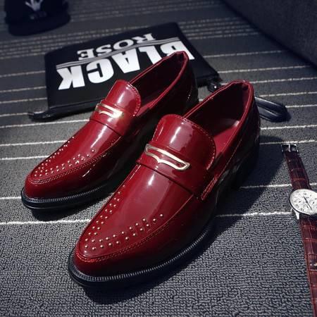 夏季英伦男士潮流套脚尖头皮鞋漆皮休闲韩版男鞋时尚发型师小皮鞋