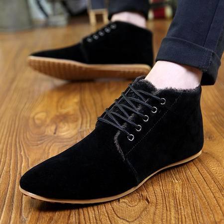 时尚尖头流行男鞋舒适潮鞋 高帮加棉保暖日常休闲鞋 休闲工作鞋