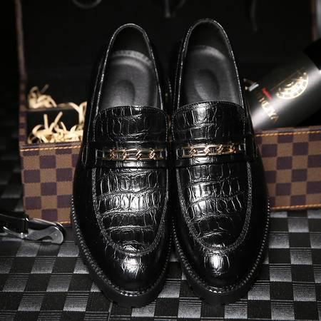 夏季韩版休闲尖头皮鞋男潮 厚底增高商务青年英伦发型师男鞋