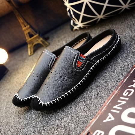 男鞋男单平跟纯色橡胶夏季套脚透气布韩版豆豆鞋圆头青春潮流拖鞋