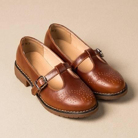 真皮英伦风浅口单鞋坡跟搭扣休闲复古文艺清新淑女手工皮鞋外贸女