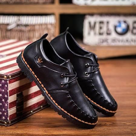 2016韩版休闲商务皮手工缝线皮鞋舒适透气韩学生板鞋青年流行板鞋