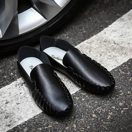 夏季新款透气薄皮单鞋英伦风潮流鞋男士修身款休闲皮鞋豆豆男鞋子