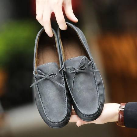 夏季潮流英伦休闲皮鞋豆豆鞋男士透气软面真皮软底懒人套脚驾车鞋