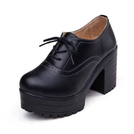 2016春季新品粗跟单鞋英伦圆头坡跟防水台高跟鞋系带真皮女鞋