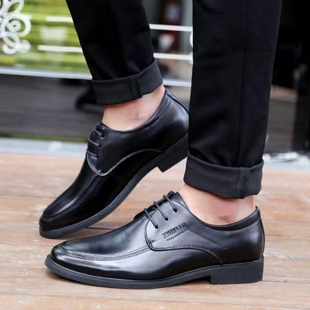 男鞋正品系带商务正装皮鞋 扁头真牛皮舒适简约西装单鞋