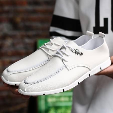 商务休闲鞋男系带皮鞋男英伦板鞋男青年韩版小皮鞋潮流软底单鞋子