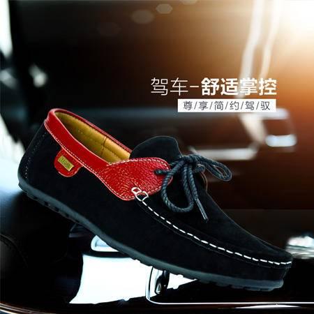 夏季新款透气真皮手工男豆豆鞋时尚休闲鞋驾车鞋套脚低帮懒人鞋子