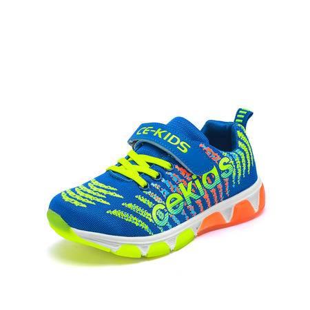 CE男童鞋春秋中大童鞋男童运动鞋37码2016新款飞织儿童跑步鞋蓝球鞋