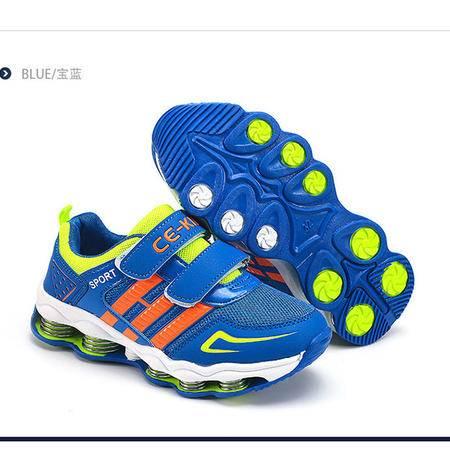 CE2016新 男女童运动鞋弹簧网面鞋大童透气学生跑步鞋