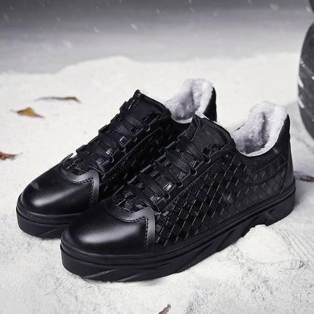 冬季板鞋男韩版潮小白鞋男士休闲鞋青少年板鞋黑色运动鞋加绒棉鞋