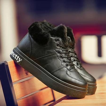 冬季雪地靴女短靴防滑平底学生皮毛一体加绒加厚短筒保暖棉鞋女靴