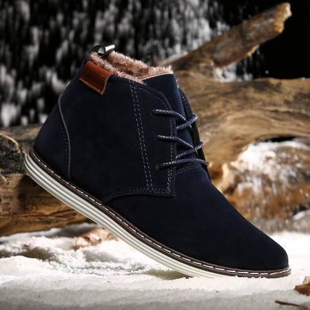 冬季加绒马丁靴男防水保暖靴子韩版雪地靴男短靴高帮鞋加厚棉鞋男