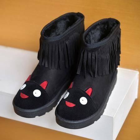 2016冬季新款高帮棉鞋加绒女韩版保暖加绒休闲厚底棉靴