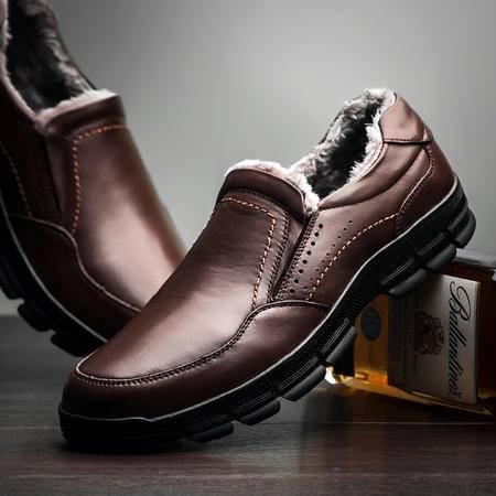 男士鞋子中老年男鞋皮鞋爸爸鞋老人鞋秋冬季加绒棉鞋