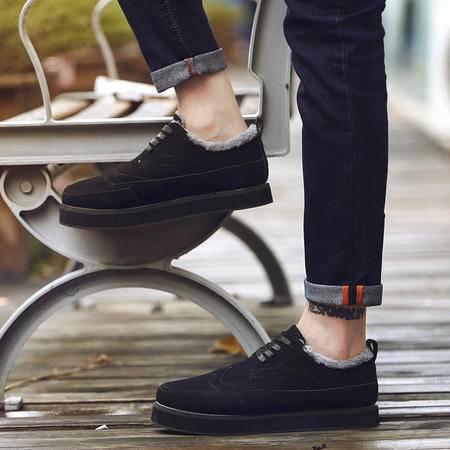 秋季男鞋子布洛克皮鞋男休闲鞋韩版板鞋男生厚底松糕潮鞋冬季棉鞋