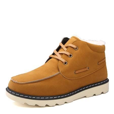 冬季男士雪地短靴韩版潮男靴子休闲保暖加绒棉鞋高帮男鞋马丁棉靴