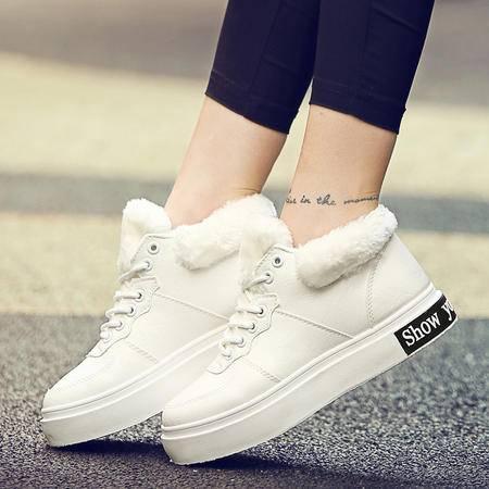 冬季女鞋毛毛鞋雪地靴女加绒厚底保暖棉鞋靴子