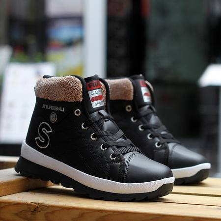 中学生女鞋冬季韩版平底加绒加厚少女棉鞋女大童运动短靴雪地靴子