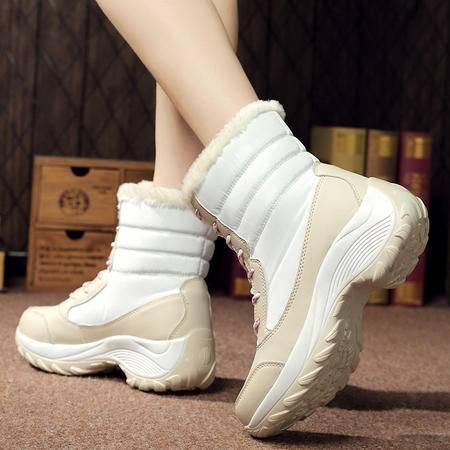 新款冬季高帮休闲加绒女鞋厚底坡跟摇摇鞋棉鞋松糕鞋运动旅游鞋潮