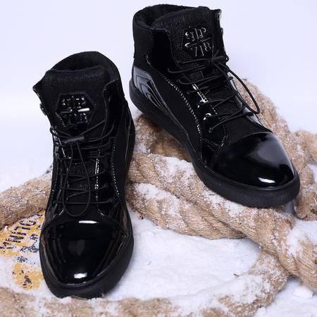 欧洲站潮牌高帮男鞋潮韩版圆头高邦男鞋冬季加绒保暖棉鞋冬鞋男