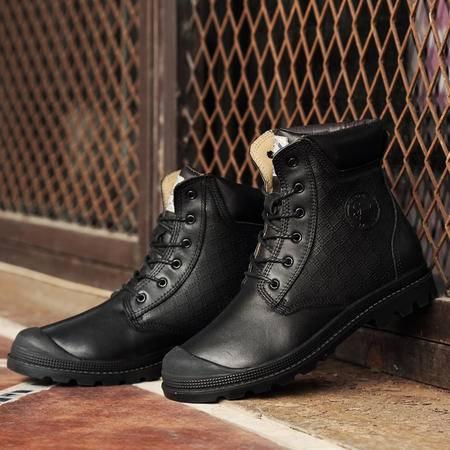 情侣靴中筒雪地靴男女头层真皮靴子马丁靴加绒高帮棉鞋