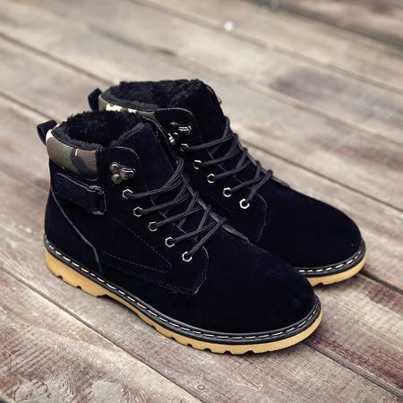 冬季休闲男鞋加绒保暖高帮鞋英伦工装鞋男系带大头鞋户外棉靴短靴