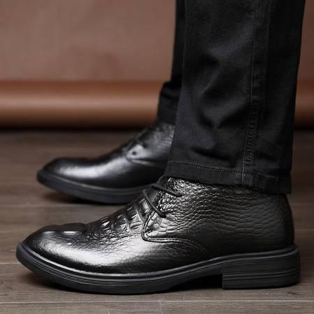 冬季鳄鱼纹高帮鞋男士尖头商务皮鞋真皮发型师休闲鞋加绒毛皮棉鞋