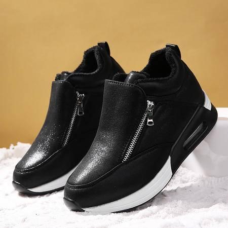 女鞋秋季新款2016百搭韩版厚底松糕鞋气垫内运动休闲加绒棉鞋