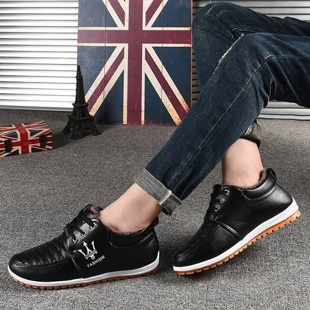冬季加绒加棉皮鞋男学生保暖休闲棉鞋青少年英伦板鞋圆头系带男鞋