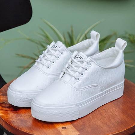 秋冬皮面板鞋女系带厚底松糕鞋小白鞋休闲韩版学生潮加绒女鞋棉鞋