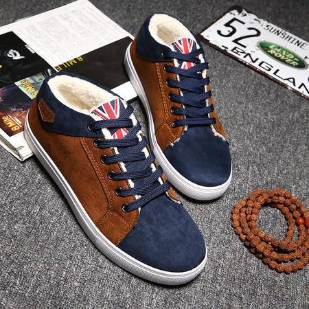 冬季百搭运动鞋男雪地靴韩版青少年学生加绒鞋保暖棉鞋休闲旅游鞋