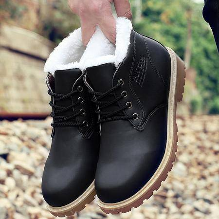 秋冬季棉鞋男加绒男士短筒雪地靴男鞋休闲鞋加厚保暖二棉皮靴