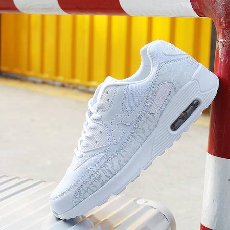 2016冬季运动休闲男鞋新款情侣气垫鞋学生青年跑步鞋女白色加棉运动鞋