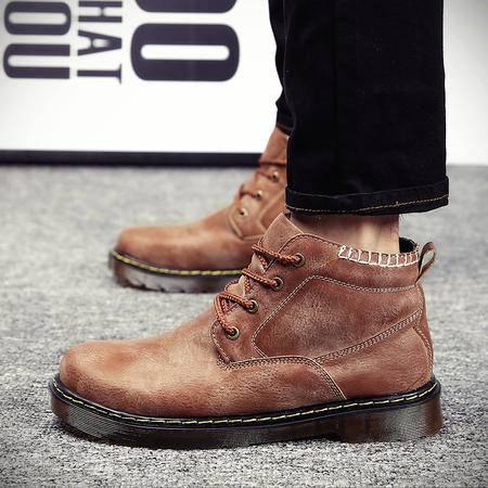 16年新款冬季男士中筒马丁靴复古系带加绒高帮鞋男休闲鞋保暖棉靴