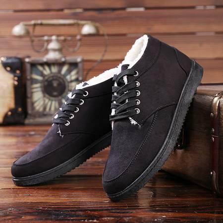 冬季男版加绒加厚男鞋保暖棉鞋青春潮流黑色男生系带板鞋青年学生