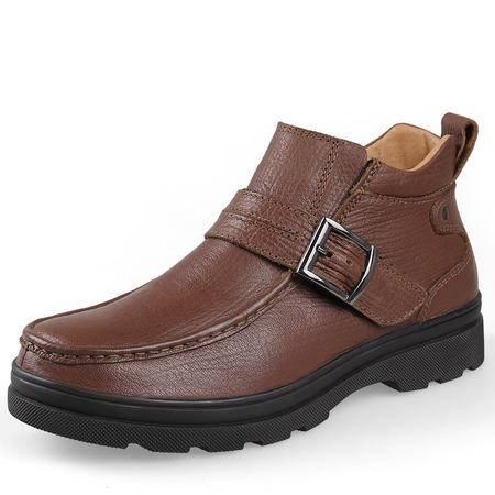 男士雪地靴男冬季短筒靴加毛保暖大码男靴真皮棉鞋加厚马丁靴
