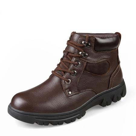 冬季男士真皮加绒高帮皮鞋厚底保暖加厚防滑东北棉鞋