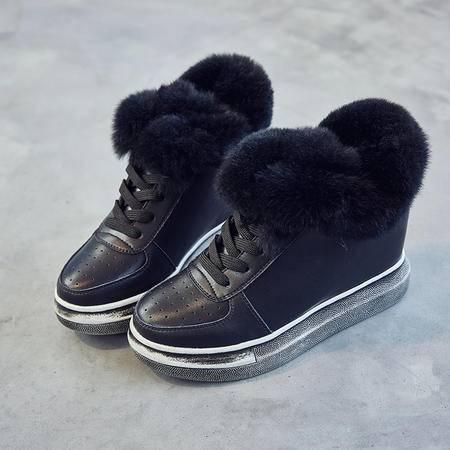 冬季真皮加绒内增高女鞋休闲松糕韩版短靴女透气系带厚底白色棉鞋