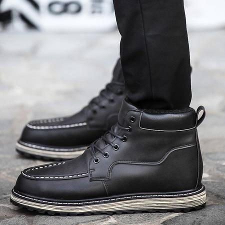 高帮鞋男冬季加绒保暖棉鞋内增高鞋男潮英伦休闲鞋男工装靴子男鞋