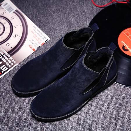 冬季男鞋加绒保暖潮鞋英伦风韩版复古棉鞋青年男士马丁休闲小皮鞋