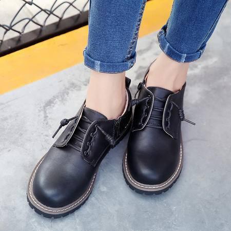 2016秋冬英伦学院风小皮鞋女学生单鞋复古圆头系带牛津鞋加绒棉鞋