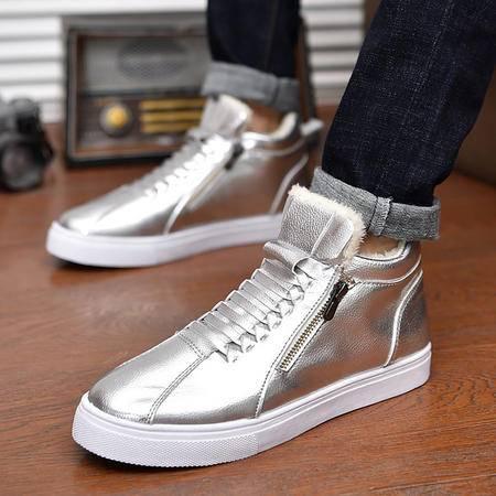 男士韩版秋冬季加棉中高帮鞋金银色皮鞋侧拉链学生小白鞋保暖板鞋