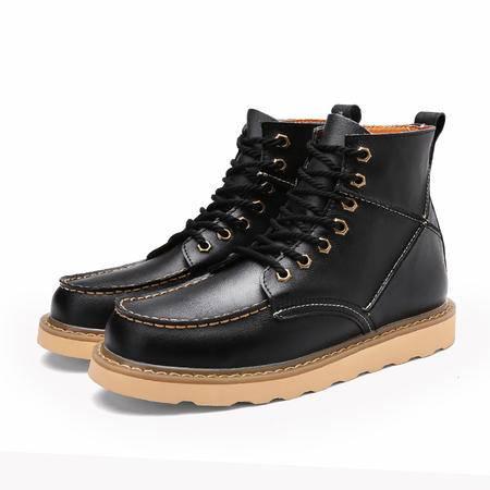 冬季马丁靴男英伦高帮鞋雪地靴子男中筒靴工装靴加绒保暖棉鞋潮靴
