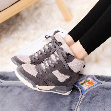 内增高女鞋冬季新款韩版加厚加绒运动高帮鞋冬鞋女潮休闲高邦棉鞋
