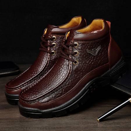 冬季男士皮马丁靴男皮靴鳄鱼纹商务靴短靴潮高帮男鞋
