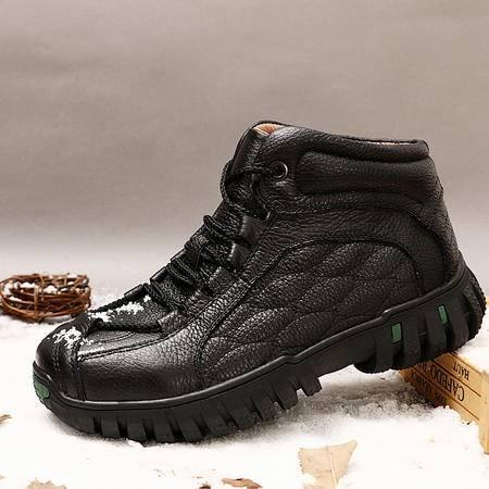 冬季加厚男士棉鞋加绒短靴真皮男靴爸爸棉鞋老人鞋保暖鞋棉靴