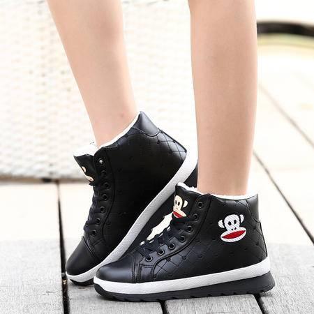 冬季初中学生运动休闲棉鞋女加绒保暖厚底雪地靴短靴韩版时尚女鞋