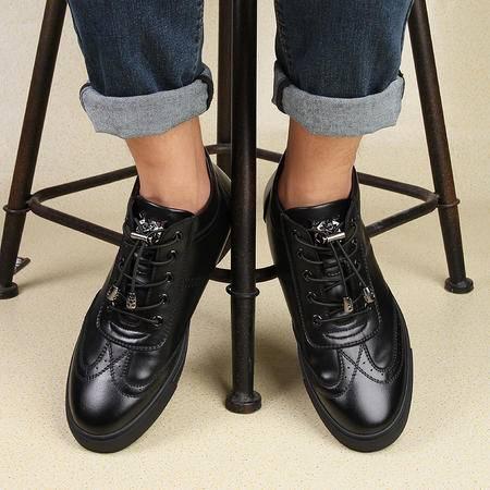 青年真皮板鞋加绒棉鞋保暖休闲皮鞋雕花布洛克运动休闲男鞋潮秋冬